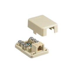 Hubbell - NS761I - NetSelect Telephone Surface Mount Jack, 6 Position, 6 Conductor, Screw Terminations, Ivory