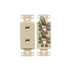 Hubbell - NS772I - NetSelect Molded-In Voice & Data Decorator Frame, Duplex RJ11 Jack, 6 Position, 6 Conductor, Screw Terminations, Ivory