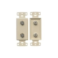 Hubbell - NS782I - NetSelect Molded-In Video & Voice Decorator Frame, Duplex F-Type Coupler Bulkhead, F/F, Screw Terminations, Ivory