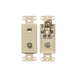 Hubbell - NS783I - NetSelect Molded-In Video & Voice Decorator Frame, 1 RJ11 Jack, 6 Position, 4 Conductor, 1 F-Type Coupler Bulkhead, F/F, Screw Terminations, Ivory