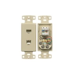Hubbell - NS784I - NetSelect Molded-In 2 Jack Voice & Data Decorator Frame, 1 RJ11 Jack, 6 Position, 4 Conductor, Screw Terminations, Ivory