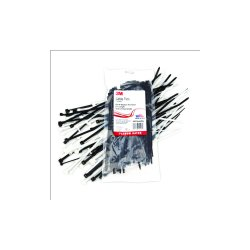 "3M - PB8BK18-C - UPC 00-051128-59333-2 8"" Black 18 LB Plain Cable Tie - 100/bag (43547)"