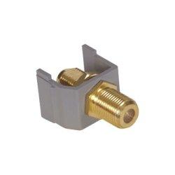 Hubbell - SFFGGY - AV Connector, F-Type Coupler Gold Bulkhead F/F, Gray