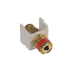 Hubbell - SFSPGRW - AV Connector, Speaker Post, Gold, Red Ring, White