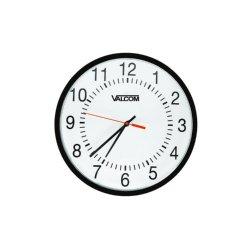 Valcom - V-AW16LP - 16 Round Wireless Clock, Black, Surface Mount