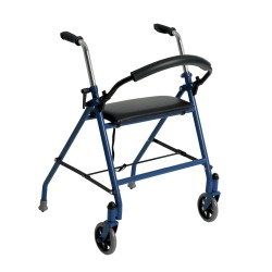 Drive Medical - 1239BL - Two Wheeled Walker with Seat, Blue - (Blue)