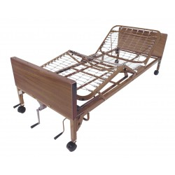 Drive Medical - 15003BV-PKG-T - Multi Height Manual Hospital Bed with Full Rails and Therapeutic Support Mattress - (Brown)
