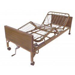 Drive Medical - 15004BV-HR - Semi Electric Hospital Bed with Half Rails - (Brown)