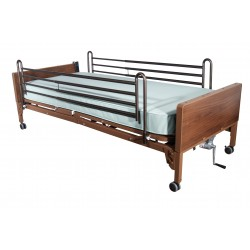 Drive Medical - 15004BV-PKG-2 - Semi Electric Hospital Bed with Full Rails and Foam Mattress - (Brown)