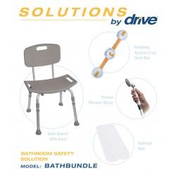 Drive Medical - BATHBUNDLE - Shower Tub Chair Bathroom Safety Bundle - (Gray, White)
