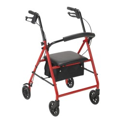 Drive Medical - R800RD - Rollator with 6 Wheels, Red - (Red)