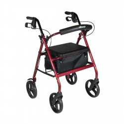 Drive Medical - RTL728RD - Aluminum Rollator with Removable Wheels, Red - (Red)