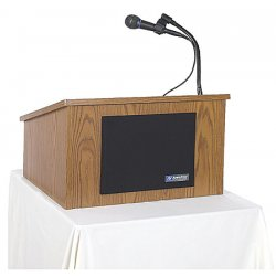 AmpliVox - S250 MED OAK - Wired Sound Tabletop Lecterns 14x24x20 Oak Laminate Amplivox Amplivox Sound System, Ea