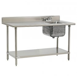 Advance Tabco - KMS-11B-306R - Stainless Steel Scullery Sink with Left Work Table, With Faucet, 16 Gauge, Floor Mounting Type
