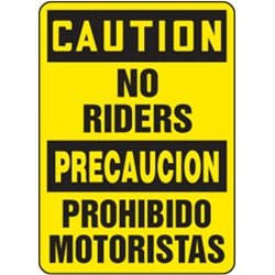 Accuform Signs - MSTK505VP - Bilingual Caution Sign English Caution No Riders Spanish Precaucion Prohibido Motoristas, Ea