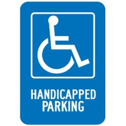 "Accuform Signs - FRA227RA - Accuform Signs 18"" X 12"" White And Blue 0.080"" Engineer Grade Reflective Aluminum Federal Sign ""HANDICAPPED PARKING (With Graphic)"""