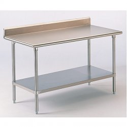 "Advance Tabco - KLG-305 - Fixed Height Work Table, Stainless Steel, 30"" Depth, 35-1/2"" Height, 60"" Width, 562 lb. Load Capacity"