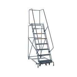 Ballymore / Garlin - 103228R - Garlin Locking Step Rolling Ladder 10 Step 28 In Deep Top Step Knock Down Abrasive Steel Gray, Ea