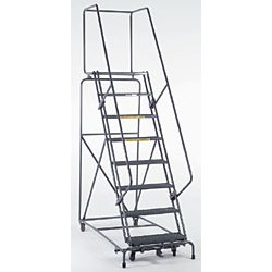 Ballymore / Garlin - 083214PSU - 8-Step Safety Rolling Ladder, Perforated Step Tread, 113 Overall Height, 450 lb. Load Capacity