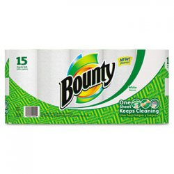 "Procter & Gamble - 28842 - Bounty Quilted Paper Towel - 2 Ply - 9"" x 10.40"" - 52 Sheets/Roll - White - Paper - Strong, Durable, Absorbent, Perforated - For General Purpose - 15 / Pack"