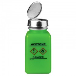 Menda / Desco - 35258 - Dissipative HDPE durAstatic Green Square Bottle with One-Touch Pump, GHS Label with Acetone, 6oz
