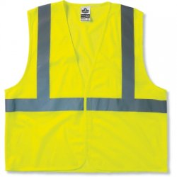 "Ergodyne - 20973 - Ergodyne Small - Medium Hi-Viz Lime GloWear 8205HL Super Econo 3.3 oz Polyester Mesh Class 2 Vest With Front Hook And Loop Closure And 2"" Level 2 Reflective Tape"