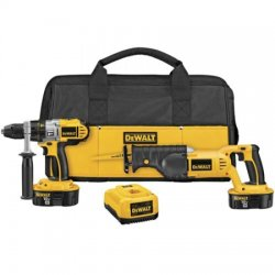 Dewalt - DCK251X - DeWALT XRP 18 V Ni-Cad 450/1500/2000 RPM Cordless Hammer Drill/Reciprocating Saw Combination Kit (Includes 1 Hour Nicd/Nimh/Li-Ion Charger, (2) 18V XRP Batteries, 360 Side Handle, DCD950 Xrp 1/2' 18V Hammer drill/Drill/Driver,