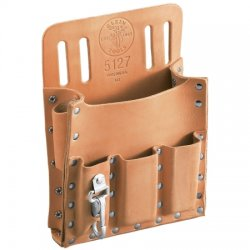 "Klein Tools - 5118C - Klein Tools 6 1/2"" X 11"" Brown Leather 4 Pocket Tool Holder With 2"" Slotted Belt And Metal Ring (For Use With Pliers, Folding Rule, Screwdriver And Wrench)"