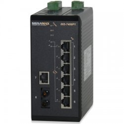 Signamax / AESP - 065-7408P1FXSTTB - 8 Port (4 PoE) Unmanaged DIN-Rail Switch w/ ST FX