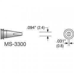 Plato - MS-3300 - Solder Tip, Chisel, 0.094 In/2.4 mm