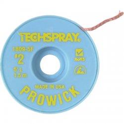 Techspray - 1809-5F - Desoldering Braid, Pro Wick, Yellow #2, Static Dissipative Bobbin, Copper, 5ft x 0.055