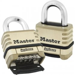 Master Lock - 1175D - Lock, 4-Digit Combo 1-1/16 Shackle; brass body