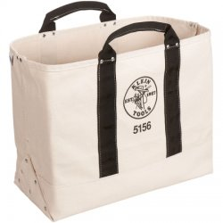 "Klein Tools - 5156 - 1-Pocket Canvas General Purpose Tool Tote, 15""H x 19""W x 9""D, White"