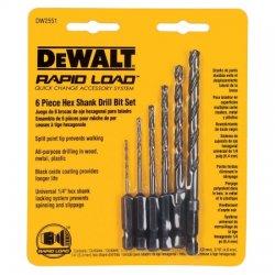 "Dewalt - DW2551 - 6pc hex shank bits, 1'16"" to 1/4"" split point"