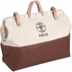 Klein Tools - 5105-24 - 1-Pocket Canvas General Purpose Wide-Mouth Tool Bag, 15H x 24W x 6D, Brown