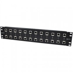 L-Com Global Connectivity - RMSP-CAT6T-12 - 19 Rack Mount 12-Port 10/100/1000 Base-T Gas Tube CAT6 Lightning Protector - RJ45