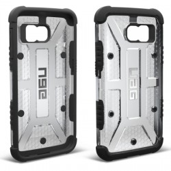 Urban Armor Gear - UAG-GLXS6-ICE-W/SCRN-VP - Urban Armor Gear Smartphone Case - Smartphone - Ice, Black - Embossed UAG Logo, Hexagonal Pattern, Textured - Feather Lite