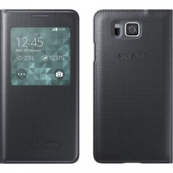 Samsung - EF-CG850BBESTA - S-View Flip Cover for Samsung Galaxy Alpha Black
