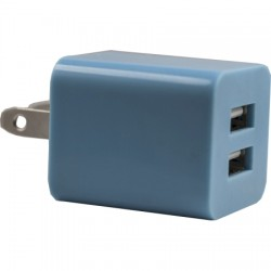 AlphaComm - C-DWALL931-BLU - Color Burst Wall Charger Dual 2A in Blue Blaze