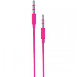 AlphaComm - C-AUX568-PNK - Color Burst Flat Auxiliary Cable 3.3ft. Pink Pop