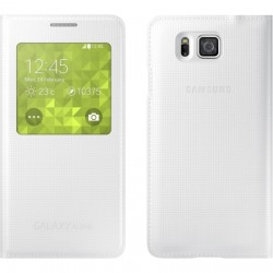 Samsung - EF-CG850BWESTA - S-View Flip Cover for Samsung Galaxy Alpha White