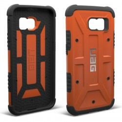 Urban Armor Gear - UAG-GLXS6-RST-W/SCRN-VP - Urban Armor Gear Smartphone Case - Smartphone - Rust, Black - Embossed UAG Logo, Hexagonal Pattern, Textured - Feather Lite