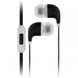 AlphaComm - C-EP909-BLK - Color Burst In-Ear Headphones in Black Ink