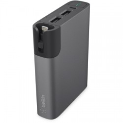 Belkin / Linksys - F8M992BTGRY - Belkin MIXIT Metallic Power RockStar 6600 - Power bank 6600 mAh - 3.4 A - 2 output connectors (USB) - gray - for Apple iPhone 5, 5c, 5s, 6, 6 Plus, 6s, 6s Plus
