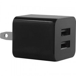 AlphaComm - C-DWALL931-BLK - Color Burst Wall Charger Dual 2A in Black Ink