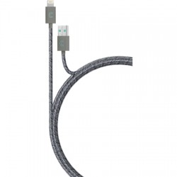 Candywirez - LC-MW3-GRYP - 3ft Marbled Woven Braided Lightning Cable - GY/PR
