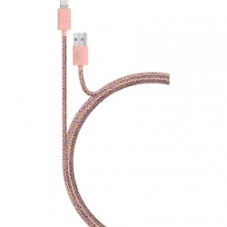 Candywirez - LC-MW3-PNKO - 3ft Marbled Woven Braided Lightning Cable - PK/OR