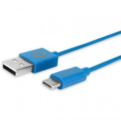 AlphaComm - C-TYPEC-BLU - Color Burst USB-A to USB-C 3 ft. Blue Blaze