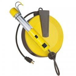 Bayco - SL-825 - 40 ft. Indoor General Purpose Extension Cord Reel with Hand Lamp, Black; Handle: Metal